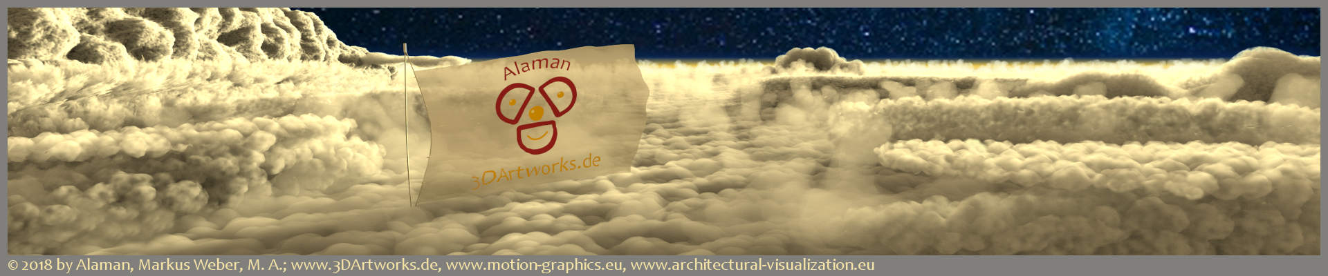 Logos: banner with the Alaman 3D Artworks logo in front of clouds
