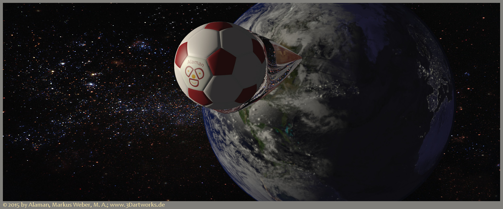 Product visualization: earth and classic football being launched into space from Canada